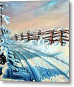 Winter Snow Tracks Metal Print