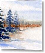 Winter Storm Watercolor Landscape Metal Print