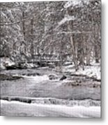 Winter Stream And Woods Metal Print