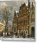Winter Street Scene. Oudewater Metal Print