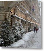 Winter Stroll In Helsinki Metal Print