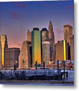 Winter Sunrise Over Downtown Manhattan Metal Print