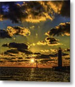Winter Sunset At Muskegon Channel Light Metal Print