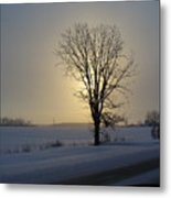 Winter Sunset In Lambton County Metal Print