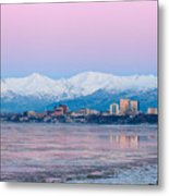 Winter Sunset Over Anchorage, Alaska Metal Print
