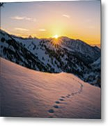 Winter Sunset Over Little Cottonwood Canyon Metal Print