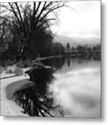 Winter Tree Reflection - Black And White Metal Print