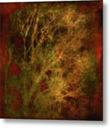 Winter Trees In Gold And Red Metal Print
