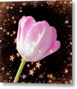 Winter Tulip With Gold Snow And Stars Metal Print