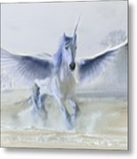 Winter Unicorn Metal Print