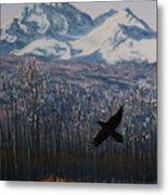 Winter Valley Raven Metal Print