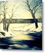 Winter Walk At Bennett's Mill Bridge Metal Print