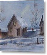 Winter Walk, Watercolor Painting Metal Print