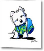 Winter Westie With Lime Metal Print