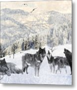Winter Wolves Metal Print by Lourry Legarde