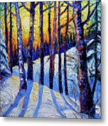 Winter Woodland Sunset Modern Impressionism Palette Knife Oil Painting Metal Print