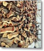 Winter Woodpile Metal Print