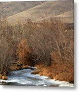 Winter Yakima River With Hills And Orchard Metal Print