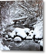 Winters Crossing Metal Print