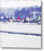 Wintertime At The Fairmount Dam And Boathouse Row Metal Print