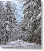 Wintery Country Road Metal Print