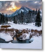 Wintery Wasatch Sunset Metal Print