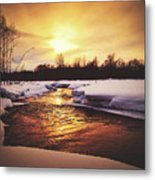 Wintry Sunset Reflections Metal Print