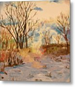 Wintry Walk Metal Print