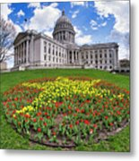 Wisconsin Capitol And Tulips Metal Print