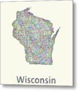 Wisconsin Line Art Map Metal Print