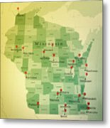Wisconsin Map Square Cities Straight Pin Vintage Metal Print