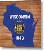 Wisconsin Rustic Map On Wood Metal Print