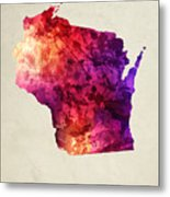 Wisconsin State Map 05 Metal Print