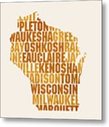 Wisconsin State Outline Word Map Metal Print