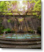Wisteria Blooming On Trellis At Garden Patio Metal Print