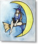 Witch And Moon Metal Print