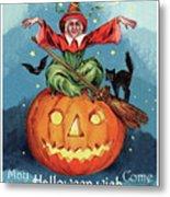 Witch In A Big Pumpkin Metal Print