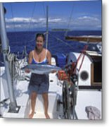With A Spanish Mackerel Walu Caught Metal Print
