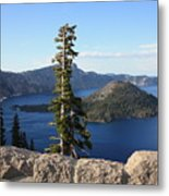 Wizard Island With Rock Fence At Crater Lake Metal Print