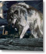 Wolf At Night Metal Print