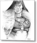 Wolf Barbarian Metal Print