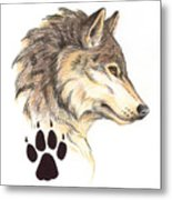 Wolf Head Profile Metal Print