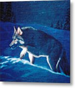 Wolf In The Headlights Metal Print