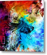 Wolf Playing With Butterflies Metal Print