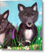 Wolf Pups Metal Print
