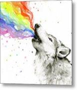Wolf Rainbow Watercolor Metal Print