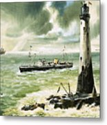 Wolf Rock Lighthouse At Land's End Metal Print