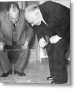 Wolfgang Pauli And Niels Bohr Metal Print by Margrethe Bohr Collection and AIP and Photo Researchers