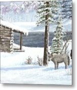 Wolfs In Winter Metal Print