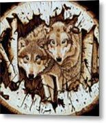 Wolves In Hiding Metal Print
